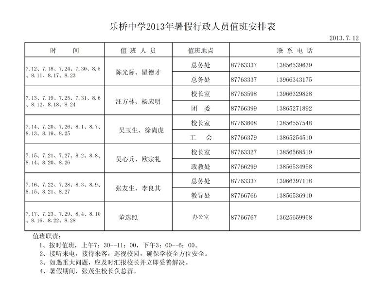 2013年暑假行政值班安排表
